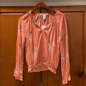 Peach floral blouse